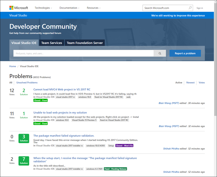 Developer Community site home page