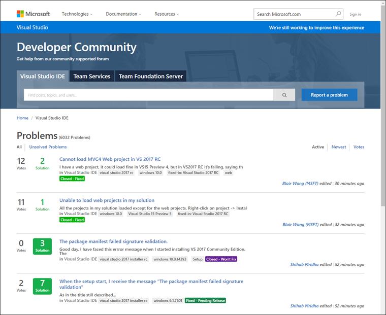 Developer Community site home page