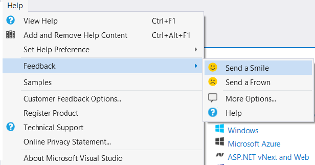 Visual Studio 2015 Send-a-smile