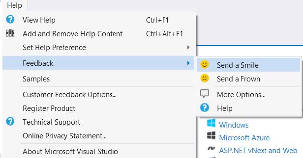 Visual Studio 2015 Send-a-smile