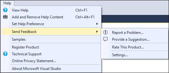 Visual Studio 2015 Send Feedback