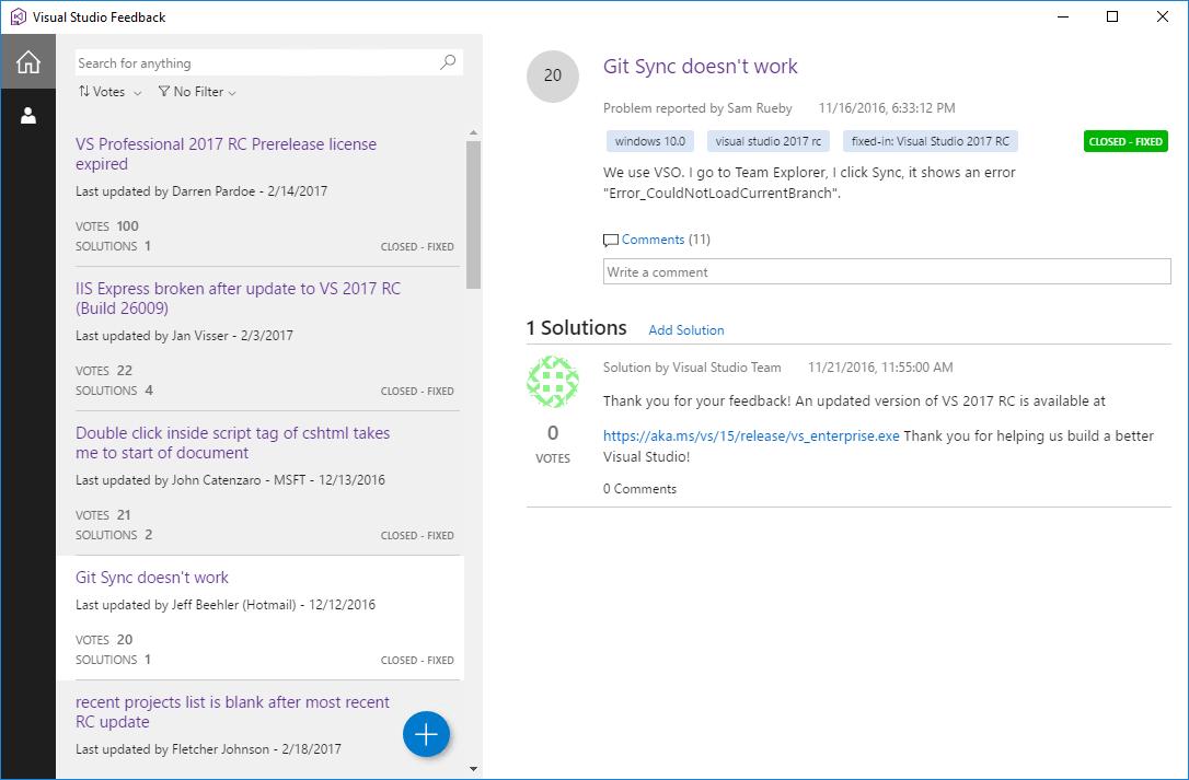 Visual Studio 2017 RC Report a Problem
